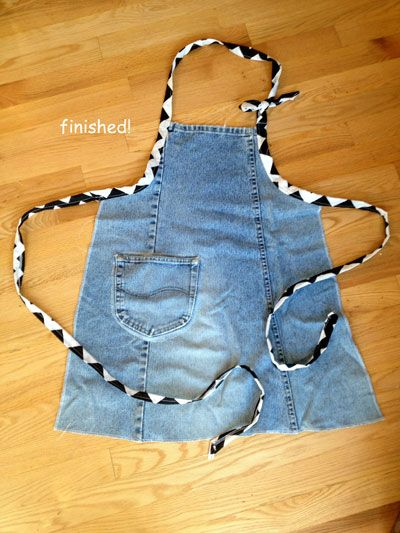 DIY Apron from Recycled Jeans - Wiser Living - Mother Earth Living  PERFECT FOR CRAFTING OR GARDENING