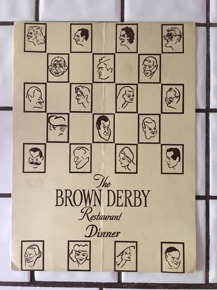 The Brown Derby Restaurant Menu 1949 Los Angeles History/Icon Humphrey Bogart-  | eBay