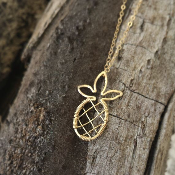 "Necklace ""Woven Pineapple"" (14K gold filled or Sterling Silver) Hawaiian jewelry, Island, Tropical, Beachy, Handmade with Aloha in Hawaii"