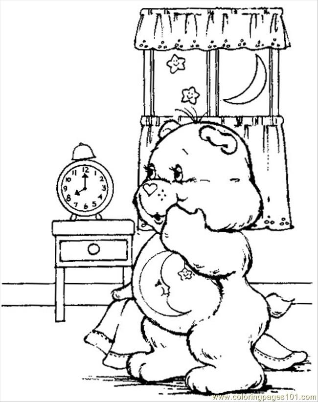Bed Time Care Bear Coloring Page