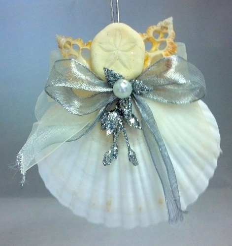 Natural Seashell Sand Dollar Silver Angel    Idea