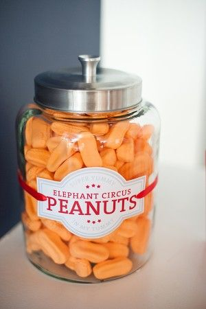 I can't stop eating these this week.  Got stress? | peanut candy jar | via The Sweetest Occasion