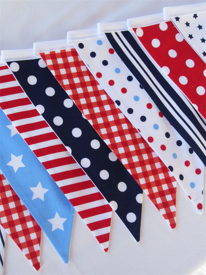 Fabric Bunting - Red, White & Blue - Stars and stripes | LittleStarrs |
