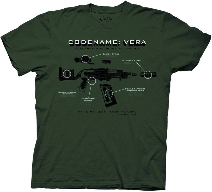 Just how much do you know about Jayne Cobb's very favorite gun? The Firefly Codename Vera T-Shirt shows you everything you need to know to take care of the fearsome lady.