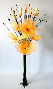 Artificial Flowers -Yellow & Orange Nylon Net Flower Arrangement In Vase.   eBay  #ghdcandy #yellow