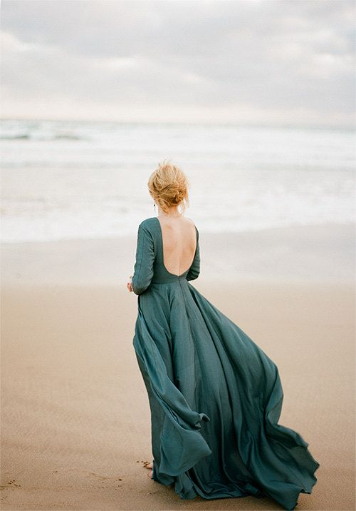 Penesula / Dark emerald Romantic wedding gown Alternative wedding dress boho bridesmaid dress flying silk with low back dress long sleeves