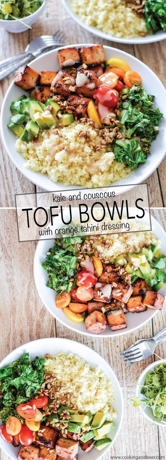 Kale and Couscous Tofu Bowls with Orange Tahini Dressing is a weeknight dinner…