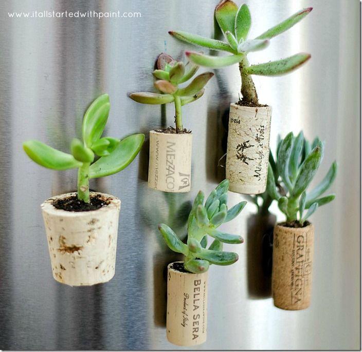 """Magnets """"mini pots de succulentes"""" faits avec des bouchons de liège et un aimant - tutoriel"""