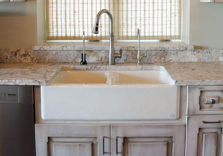 Kohler Hawthorne Apron Front Sink In Biscuit With A Kohler Bellera