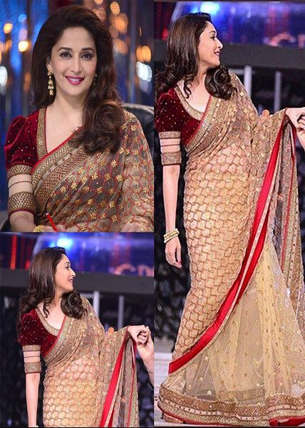 Bollywood Madhuri Dixit Zal Net Saree Bollywood Replica at Best Prices...! To order / Inquire, please email us to: mailto: getstyleathome1@gmail.com visit us for more info : www.getstyleathome.com Thank you and happy shopping!