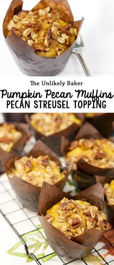 Start the day with these delicious pumpkin pecan muffins. With bits of crunchy pecans mixed in with the batter and a delightful pecan streusel topping. #recipe #pumpkin #fall