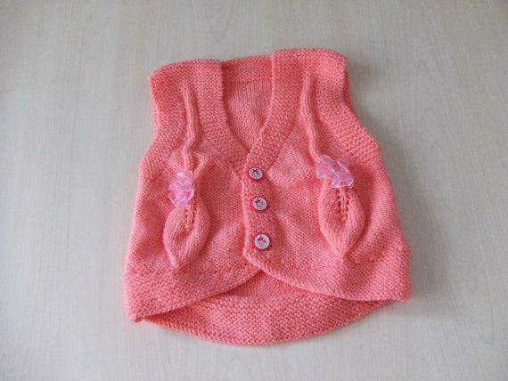 Baby Knit Vest Baby Sweater Pink Vest Winter Knit Vest by SELINCE