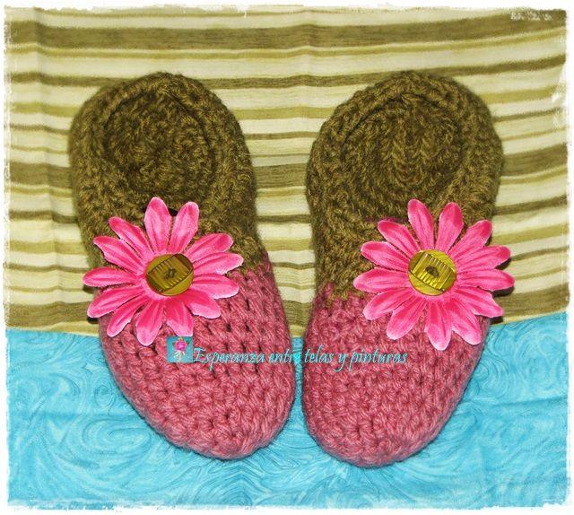 Pantuflas tejidas en lana Rosa y Verde
