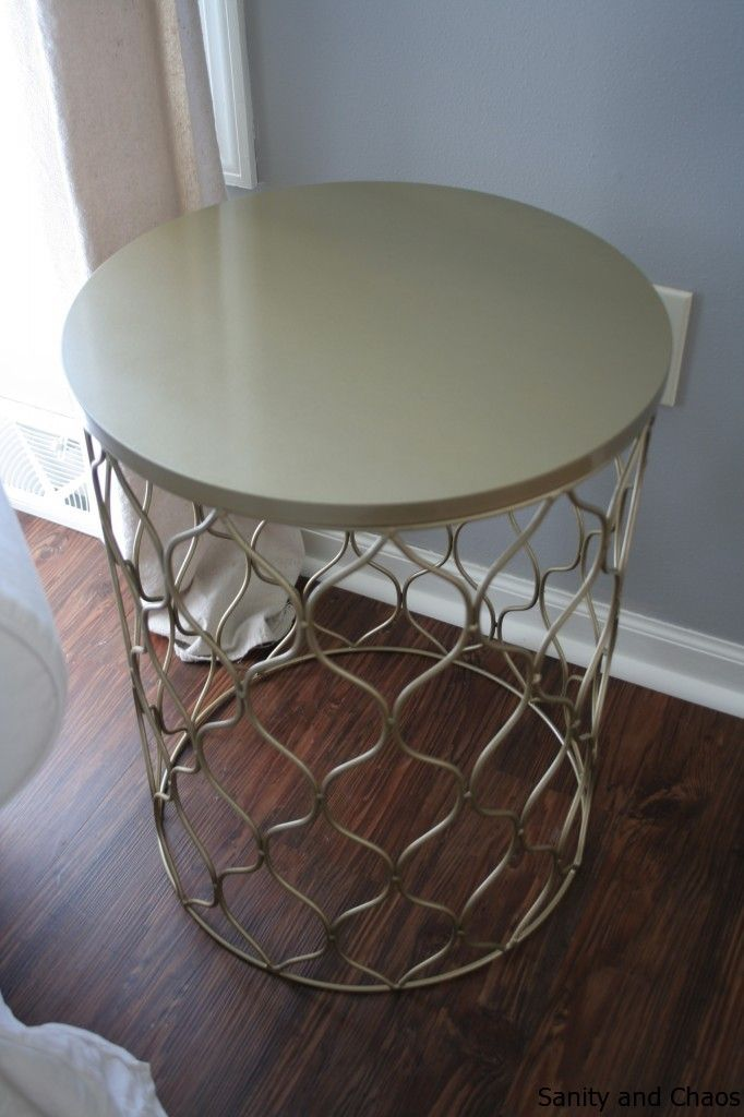 DIY Gold Side Table: Find Cute Garbage Bin, Spray Paint, Flip Upside Down