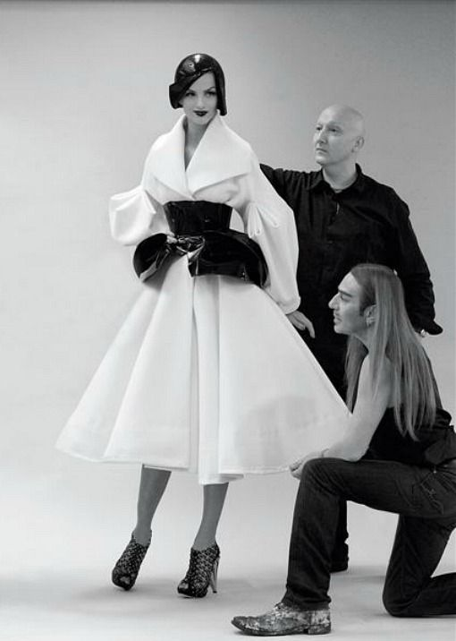 Stephen Jones and John Galliano at the fitting for Christian Dior haute couture f/w 2008