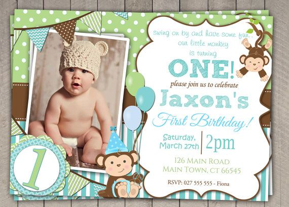 Boys Blue and Green Monkey 1st Birthday Invitation / Printable Download / First Birthday Monkey Invitation Invites Blue Green Bunting (50)