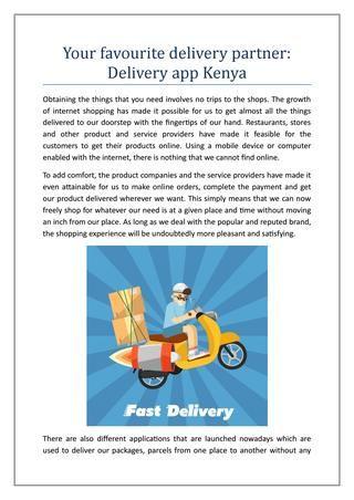 Your favourite delivery partner Delivery app Kenya