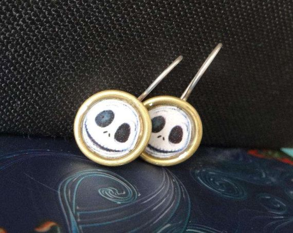 Jack Skellington picture earrings with resin by IndiejewelsShop