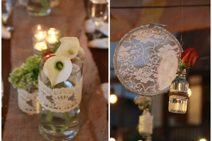 deco-mariage-champetre-vase-verre-dentelle-arum-tambour-broder déco mariage champêtre