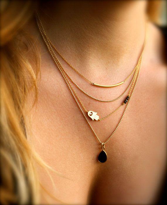 Set of 3 Gold Layering Necklaces Tube Bar Sideways by maldemer