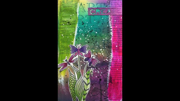 Video Hop with Friends - Art Journal Page by Susanne using Fly Fly Flowers Stamp from Rubber Dance Mixed media tutorial