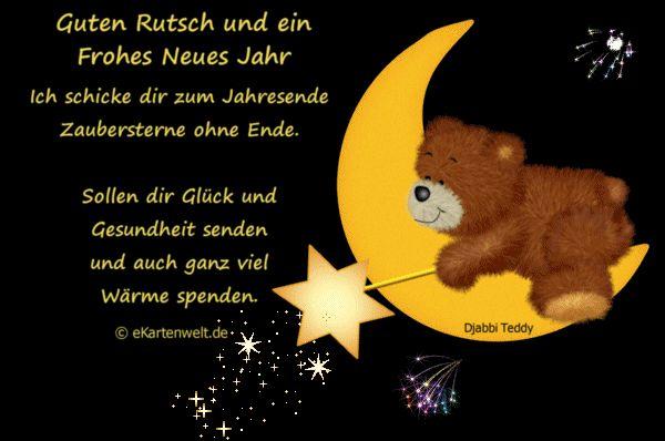 Animiertes Silvestergedicht mit Djabbi Teddy und Feuerwerk