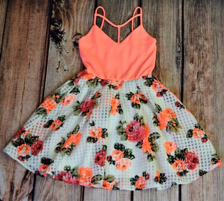 Neon Orange Floral Print Strappy Dress, 100% Polyester, Made in USA, Summer Fun, Special Occasion, Wedding, Graduation. This dress is sure to make a statement.