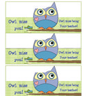 Owl miss you gift tags for your students. ...I'll be leaving them and wanted to create a cute note!