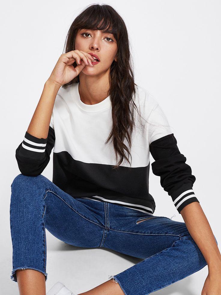 Shop Two Tone Striped Sweatshirt online. SheIn offers Two Tone Striped Sweatshirt & more to fit your fashionable needs.