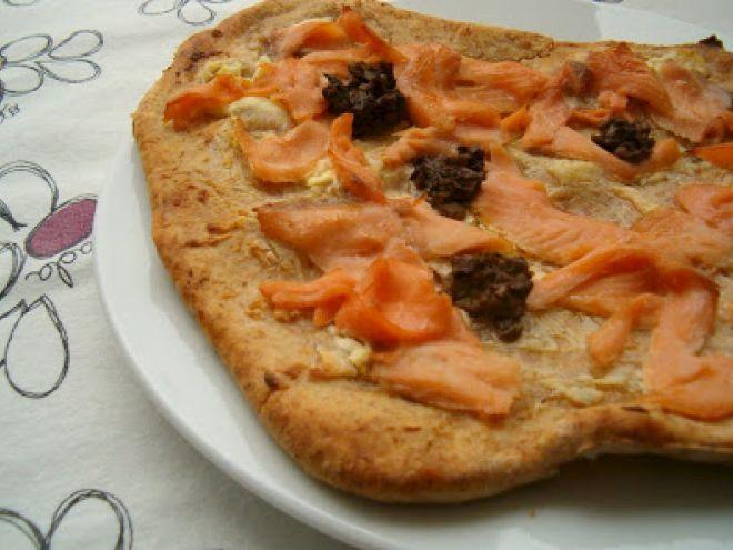Receita Entrada : Pizza de salmão, limão e alecrim de Argas