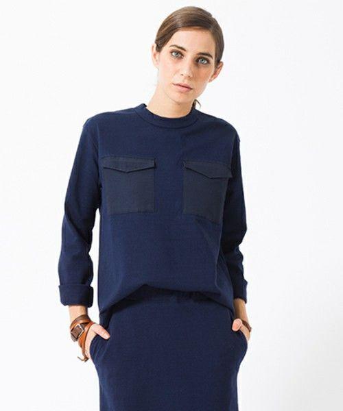 SEA(シー)の6/4クロスポケットL/S TEE(Tシャツ/カットソー)|ネイビー