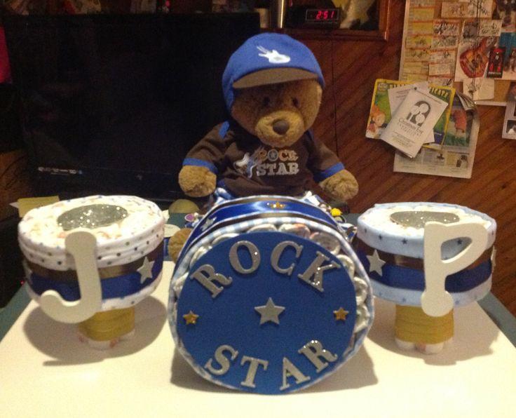 Drum set diaper cake