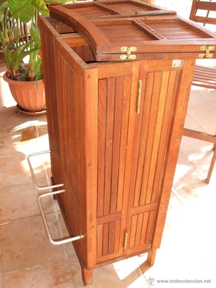 BARRA DE BAR Y 2 sillas altas. Portátil. Madera de teka - Foto 3