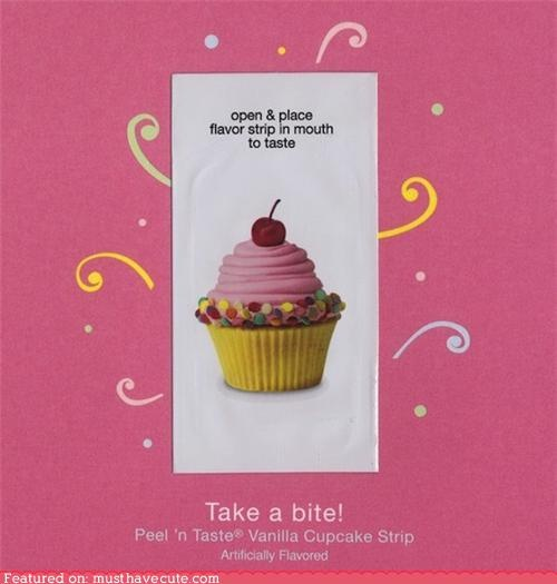 Singing greeting cards are so yesterday, now it's all about cards you can TASTE! They have a little sealed foil pouch inside with a little strip like a Listerine breath strip, but it's flavored like a cupcake! I'm not sure how much these cost or where you can get them. Anyone tried them yet?