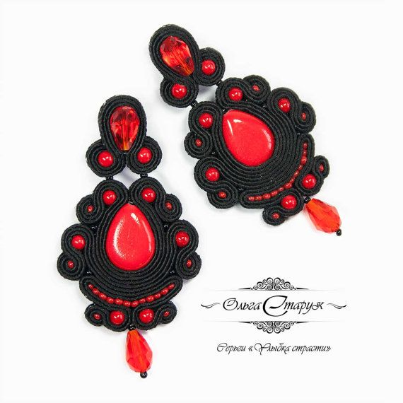 """Soutache earrings """"Smile of passion"""" made in soutache technique in classic combination of black and red colors. Classic is always in fashion and you can be sure that these earrings make you look like a goddess.   Materials: glass beads, crystal beads, pressed coral beads, soutache, natural leather, silver fittings.  / Price - 55 USD."""