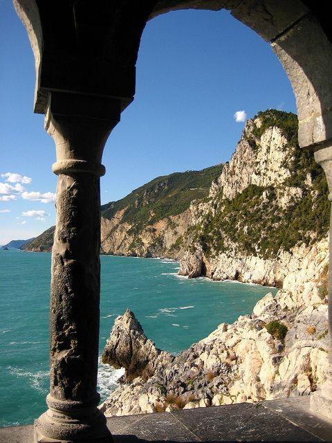 Panoramic view on the sea from Portovenere, Italy, province of La Spezia , Liguria region Italy