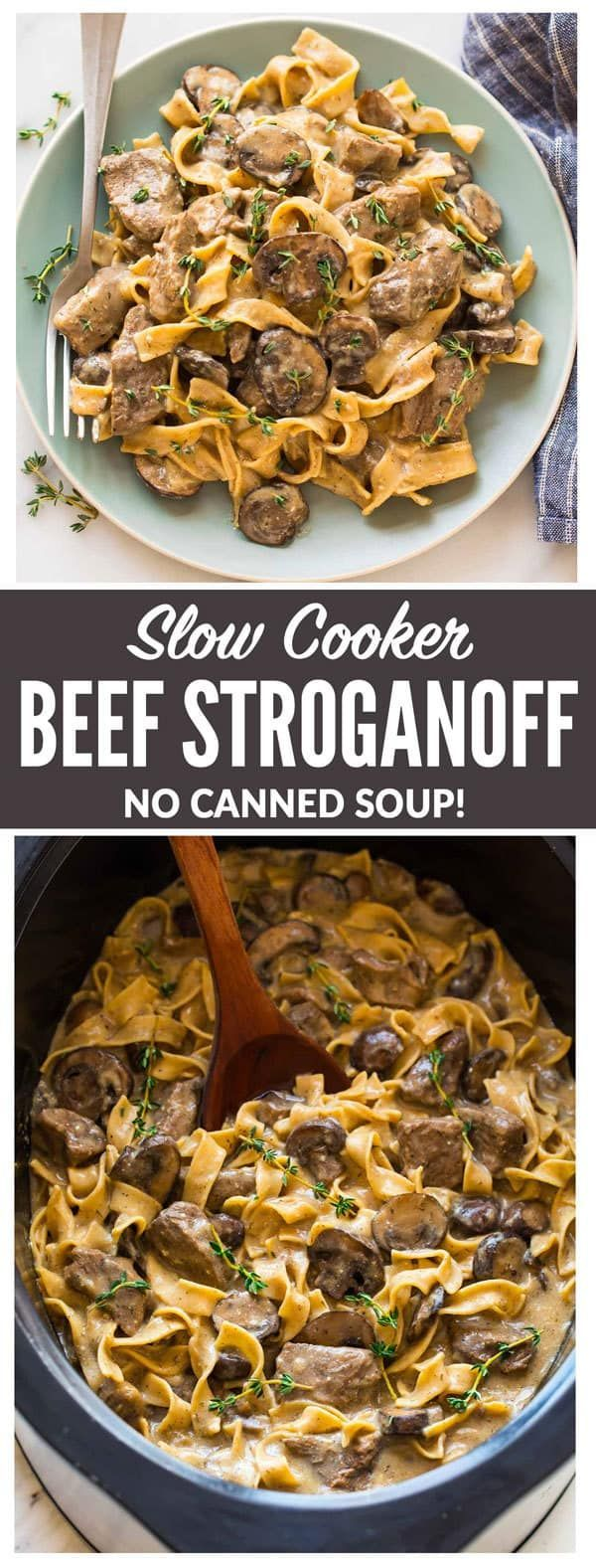The BEST recipe for Slow Cooker Beef Stroganoff from scratch! Healthy beef stroganoff without canned soup. EASY, creamy crockpot recipe with steak, mushrooms, and Greek yogurt instead of sour cream. #beefstroganoff #healthy #slowcooker #crockpot #wholewheatpastarecipemilk