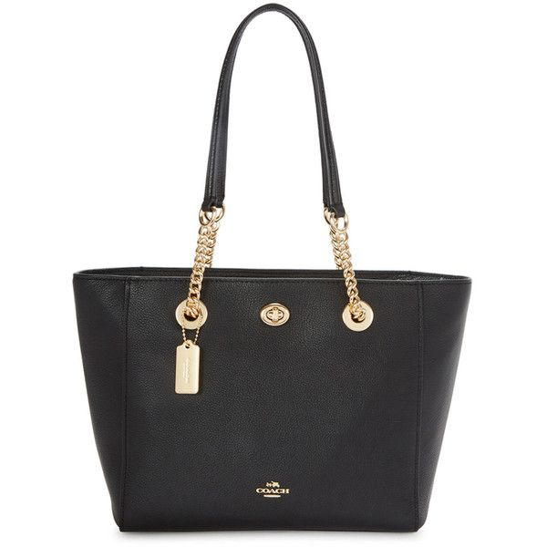 Coach Turnlock Chain 27 Small Leather Tote ($410) ❤ liked on Polyvore featuring bags, handbags, tote bags, zippered leather tote, leather zip tote, leather handbags, leather totes and zippered tote bag