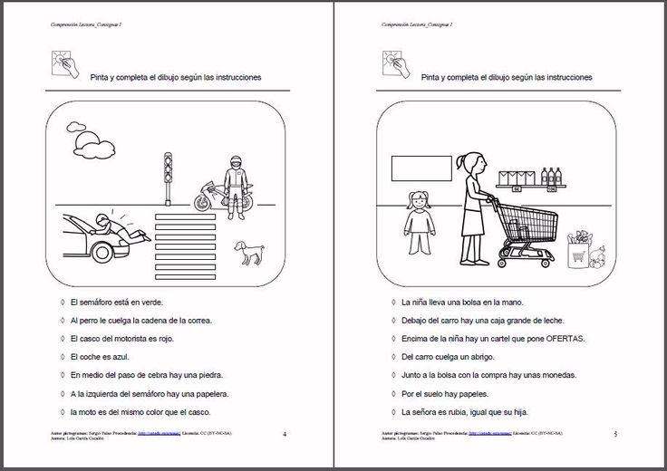 MATERIALES - Comprensión Lectora: Consignas I.  Material para trabajar la comprensión lectora: completar escenas (pintando o dibujando) siguiendo las instrucciones dadas.   http://arasaac.org/materiales.php?id_material=1124