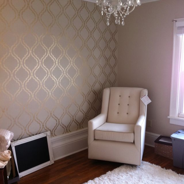 Wall stencil! I really like that the pattern is shimmery gold
