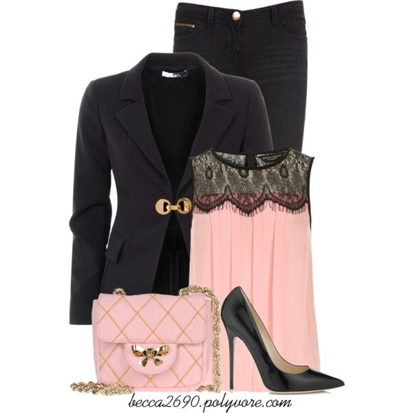 """""""Pale Pink & Black"""" by becca2690 on Polyvore"""