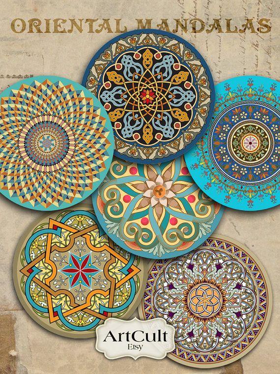Orientalische MANDALAS - 2,5-Zoll-Digital Collage Sheet für Pocket Spiegel Magnete Papier Gewichte druckbare spirituelle Bilder