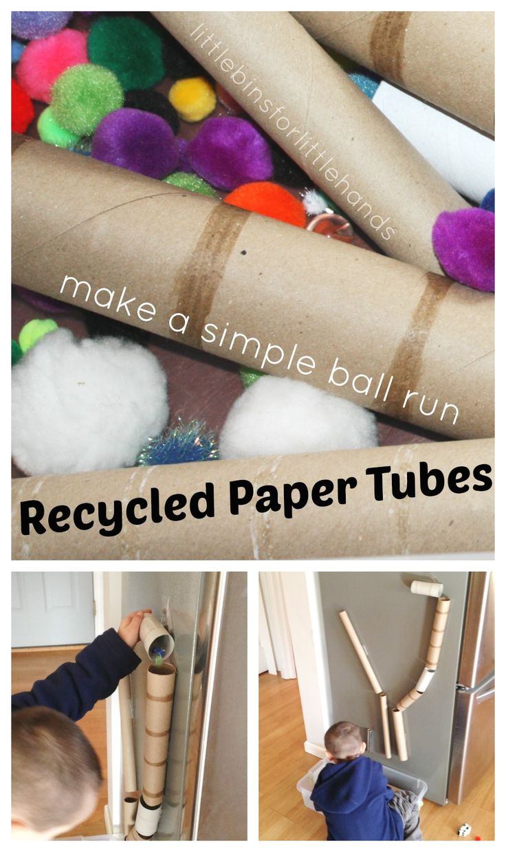Recycled Cardboard Tube Ball Run Sensory Bin