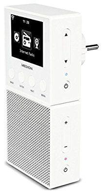 MEDION E85032 (MD 87248) Steckdosen Internetradio, Empfang von über 15000 Internetradiosendern & Podcasts, Steuerung per APP via Android oder iOS, WLAN, DLNA/UPnP komp., DMR, Bluetooth, weiß
