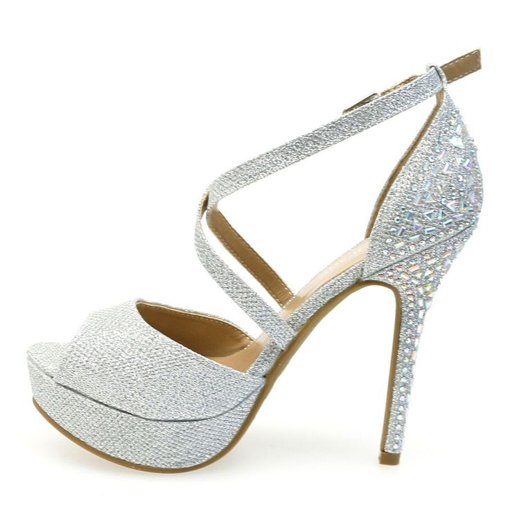 Be prepared to shine this prom season with these super cute strappy high platform heels. Features an open toe front, covered platform, silver rhinestones cover the back heel, t-strap style adjustable