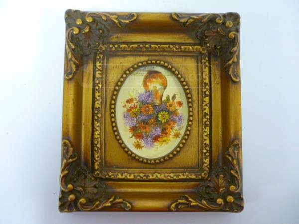 shopgoodwill.com: Framed Artist Signed Floral Art Oil Wood Painting