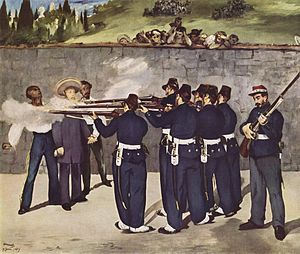 The Execution of Emperor Maximilian by Édouard Manet - sentenced to death by firing squad by Benito Juarez