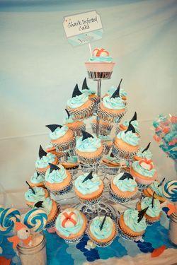 Great SHARK party ideas!Sharks Cupcakes, Sharks Fin, Birthday Parties, Sharks Weeks, Theme Parties, Cupcakes So, Pools Parties, Sharks Parties Ideas, Birthday Ideas