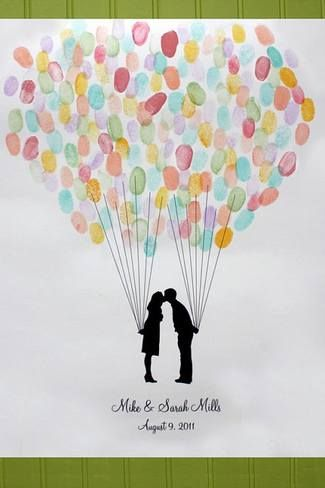 Fingerprint wedding guest book art print | See more here: Unique Wedding Guest…