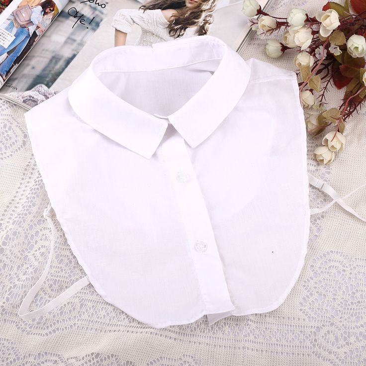 2015 мода белый шифон поддельные половина рубашка воротник стороны топы съемный блузки воротник купить на AliExpress